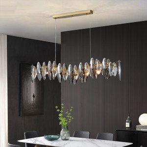 Wave design modern crystal light chandelier for dining room  smoky gray cristal lamps brief kitchen island hang lamps