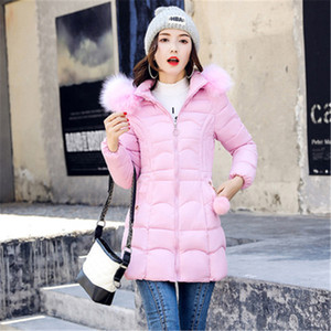 Winter coat women Korean version of the long section of the thick padded jacket to keep warm down cotton jacket big fur collar T200902