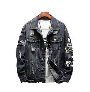 2 colores Harajuku remiendo desgastados de la roca de la vendimia negro de mezclilla azul de la chaqueta de los hombres del punk sudadera agujero streetwear hip hop con pliegues lavada