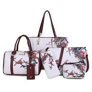 Chinois Style Floral Impression Femmes Sacs à main Sacs à bandoulière Femme Pratique Sac de composite 6 pièces Set de marque Bolsa Q1116