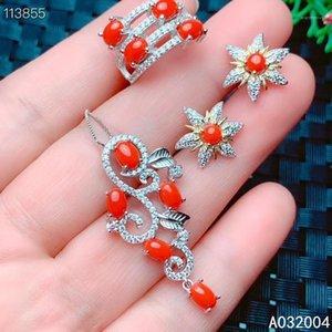 Kjjeaxcmy joyería fina 925 plata esterlina incrustada natural coral rojo nuevo anillo femenino colgante pendiente conjunto clásico soportes test1