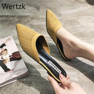 Wertzk net rossa con baotou mezzo pantofole femminile usura estiva 2020 nuove signore wild fashion woven retrò sandali stilotto tacco a spillo1