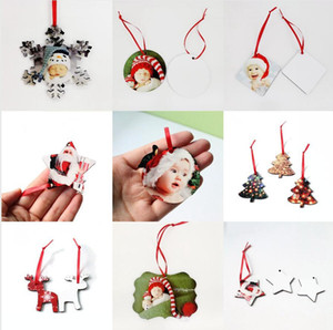 8 Styles Christmas Sublimation Ornaments MDF Heat Transfer Printing Pendant Christmas Tree Wooden Blank Snowflake Decor Sea Shipping DDA673