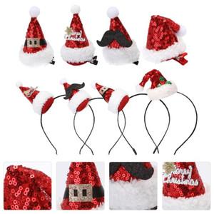 4Pcs Xmas Hat Headdress Beautiful Hair Hoops Xmas Headwear Party Headdress for Gift Girl