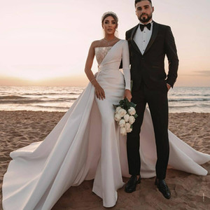 Stylish Beaded Mermaid Wedding Dresses With Detachable Train One Shoulder Long Sleeves Bridal Gowns Sequined Satin robe de mariée