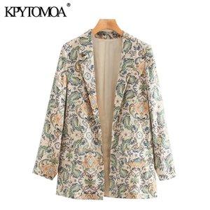 KPYTOMOA Kadınlar Moda Paisley Baskı Blazer Ceket Vintage Uzun Kollu Cepler Kadın Giyim Şık Y201026 Tops
