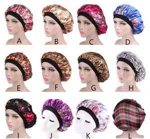 Mode féminine satin nuit de sommeil Cap Bonnet de douche Bonnet Chapeau cheveux soie tête couverture large bande élastique réglable