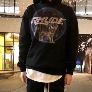 19FW Rhude x Maxfield LA Los Angeles Wolf Printed Hoodies Skateboard Street Pullover Sweatshirts Fashion Hip Hop Hooded Sweater HFYMWY247