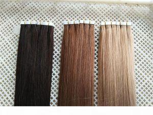 "Tape Hair Extensions 12""-26"" 2.5g pc 40pcs 100g Silk Straight Indian PU Hair Remy Tape In Human Hair Extensions"