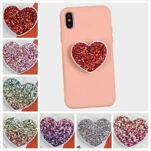 TOP Universal car cell phone holder with opp bag Flash pink heart stand Real 3M glue Grip Stand mounts 360 Degree Finger Holder EEC2930