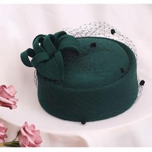 2019 Adjustable Fascinating Fedoras Elegant Female Wool Felt Mesh Bow Floral Formal Berets Fedora Hats For Women Berets Lm008 H wmtWUZ
