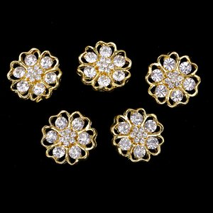 5 Pieces Gold Alloy Rhinestone Flower Shank Buttons Clothing Sewing Button 20mm