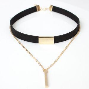 New Black Velvet Choker Collar Franja Cadena de Cuerda Barra Cuadrado Tubo Strip Chocker Mujer Cuello Mujer Collier Femme Ras Du Cou