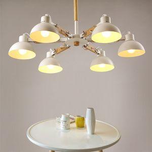 Nordic creative extension rubber wood E27 led ceiling chandelier for kitchen living room bedroom study entrance restaurant hotel