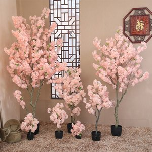 2M(6.6FT) Height Pink Color Cherry Blossom Tree With Vase Set For Home Living Room Table Potted Plants DIY Wedding Decorations