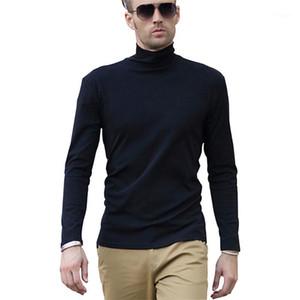 터틀넥 긴 소매 티셔츠 남성 블랙 코튼 스판덱스 캐주얼 비즈니스 사무실 슬림 맞는 미적 레저 Eboy 탑스 플러스 Size1