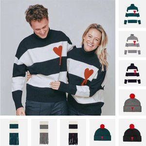 2020fw New Ami Men's Women's Round Neck Pullover Alexandre Sweater Clássico Bordado Moda Mattiussi Camisola Casual Casaco