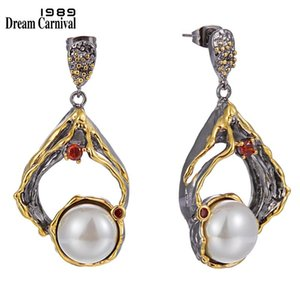 DreamCarnival1989 New Big Exaggerated Earrings for Women Baroque Pearl Jewelry Engagement Party 2020 Special Hot Selling WE4003