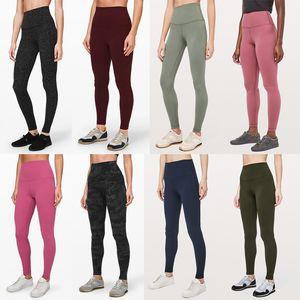 2020 empilhados align leggings de designer lu leggings mulheres ginásio cintura alta calças de yoga macacão aptidão elásticas de diseño collants da moda completos