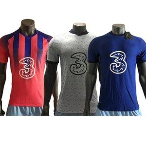 Игрок версия 2021 блюз футбол джерси # 10 Pulisic # 22 Ziyech # 29 Havertz Men Funcer рубашка настроенная футбольная форма
