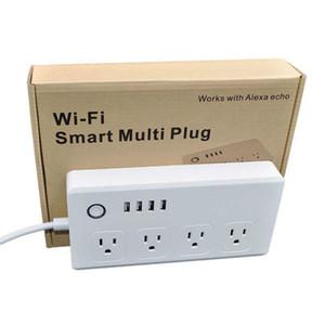 WiFi Smart Power Strip 4 EU / UK / AU / Usan Outlets التوصيل مع 4 USB شحن منفذ توقيت التطبيق التحكم الصوتي يعمل مع Alexa Google Home Assistant