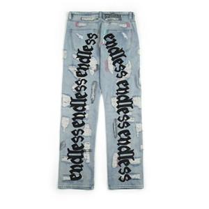 Sin fin de cadera Hombres Mujeres Vaqueros de alta calidad Hop Pantalones vaqueros rotos Embroideredy hacer viejo agujero Streetwear Jeans