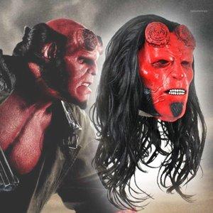 Шлем Hellboy anung unung unam rama косплей перчатки латексные маски полная голова маска Хэллоуин необычные платья костюм
