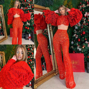 2 Pcs Red Prom Dresses Tiered Ruffles Long Sleeve Short Top Pant Suits Custom Made Sexy Evening Gowns Women Formal Wear