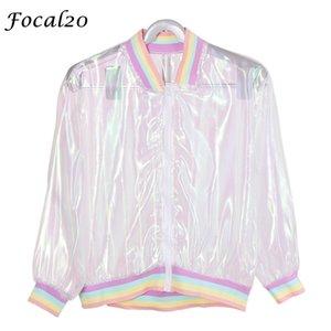 FOCAL20 Streetwear Rainbow Color Laser Женщины Солнцание Куртка Ясно Радужность Прозрачная Куртка Пальто Солнца Защита от солнца Волна y201012
