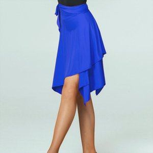Women Girls Latin Dance Skirt Skater Wrap Scarf Tango Dancewear Swing Rumba Dancing Costume Blue Red Irregular Ruffles Skirts