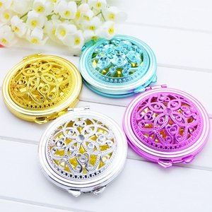 Vintage Hand Mirrors Pocket Mirror Mini Compact Mirrors Girl Double-Side Folded Hollow Out Makeup Mirror Radom Colors