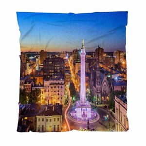 EE.UU. Throw manta suave estupenda Mantas Baltimore, Maryland, EE.UU. paisaje urbano en el monte y un sofá / Silla / asiento de amor / Manta autocaravana