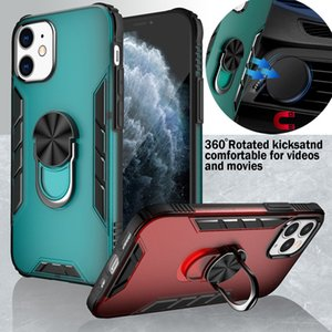 Hybrid Armor Ring Kickstand Magnetic TPU PC Case For iPhone 12 11 Pro X XS Max XR 8 7 6 SE 2020 Samsung S20 FE S21 Plus Note 20 Ultra