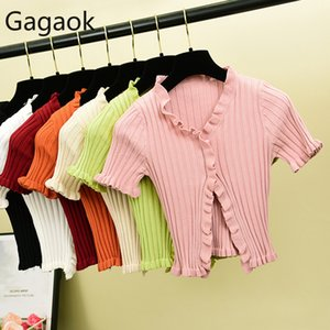 Gagaok dolce corta maglia Donna Primavera Autunno Solid Button manica corta Cardigan Stretch Slim signore increspatura coreana Top 201014