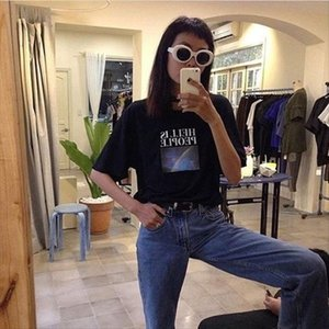 hahayuleUnisex Men Women Tumblr Grunge Tee Hell Is People Rainbow Print Quotes Graphic T Shirt Harajuku Street Wear Cool Outfit