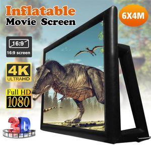 6x4M 4.4x2.5M 16: 9 200 дюймовый надувные кино ТВ Театр-экран Открытый Проекционные экраны