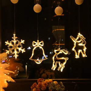 Decoration Bell Sucker LED Christmas Flashing Angel Five-pointed Star Elk Snowman Fairy Tale Character Lamp Window