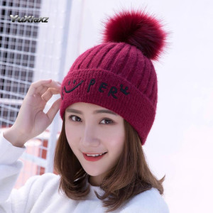 Women's hat autumn and winter wool knitted beret Korean fashion smiling face warm hat wholesale