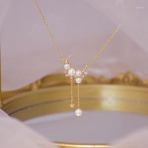 Korean New Arrive 14K Real Gold Moon Pearl Necklace Micro Inlaid Zircon Tassel Kolye Bohemia Jewelry Pendant Birthday Gift1