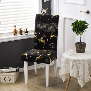 Christmas Deer Print Chair Cover for Dining Room Chairs Covers High Back Living Room Chair Cover for Chairs for Party Wedding