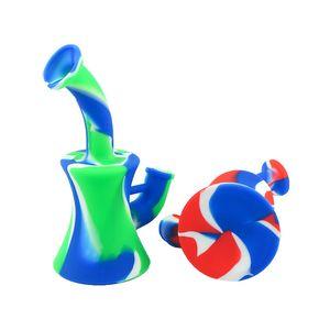 6.5 '' силиконовые бонг кальяны мини портативные водопроводные трубы съемные рецирличриликоне DAB буровой бурта для дыма нерушимые красочные бонги