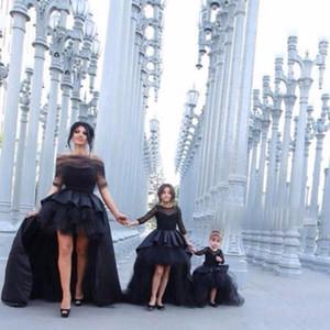 Kids Black Hi-Lo Long Manguito de manga larga Pago de la niña Vestidos de flores Vestidos de niña con el arco para la fiesta de bodas Cumpleaños princesa vestido LJ201111