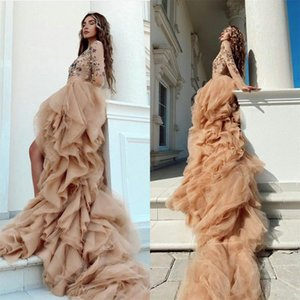 2021 Champagne Prom Dresses with High Low Ruffles A Line Evening Dress Plus Size Long Sleeve Beaded Special Occasion Gowns