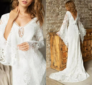 Bohemian Gothic Lace Wedding Dresses Flare Long Sleeves V Neck 2021 Hippie Country Open Back Bridal Gowns Tie Tassel robes de mariée AL7594