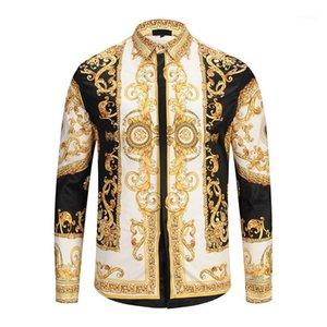 남성 캐주얼 셔츠 2021 럭셔리 패션 긴 소매 셔츠 9195 빈티지 브랜드 디자이너 3D 프린트 슬림 맞는 면화 옷깃 드레스 셔츠 1