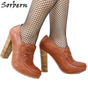 Sorbern Wave Style Women Pumps Block High Heels Round Toe Chunky Heel Shoes Rubber Sole Heels For Women Big Size 15 Custom Color