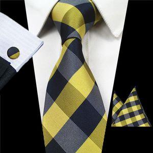 JEMYGINS nuevo de la manera de la tela escocesa corbata Conjunto 100% seda jacquard hombres corbata Gravata Plaza Hanky gemelos conjunto de bolsillo Lazo para hombre para la boda