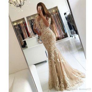 2021 Vestidos De Fiesta Illusion Boat Neck Appliqued Lace Champagne Prom Dress Beaded Low V Back Half Sleeve Mermaid Evening Dresses
