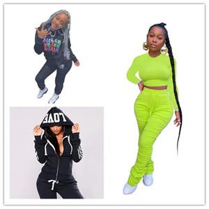 Письмо Print Womens Designer 2 Шт. Брюки Мода Мода Длинные брюки с капюшоном с капюшоном Женские 2 шт. Наборы Повседневная женщина Спортивные наряды