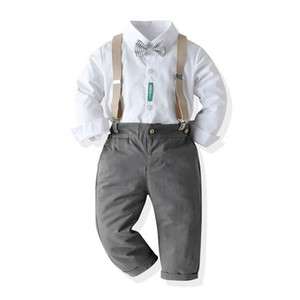 INS birthday party baby boys suits gentleman kids suits boys outfits long sleeve shirt+suspender trousers 2pcs boys clothes B2533